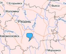 Ухолово на карте Рязанской области